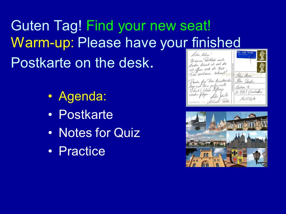 Guten Tag. Find your new seat