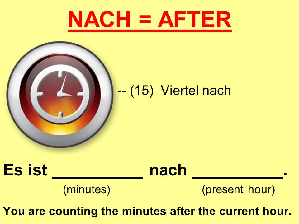 NACH = AFTER Es ist __________ nach __________. -- (15) Viertel nach
