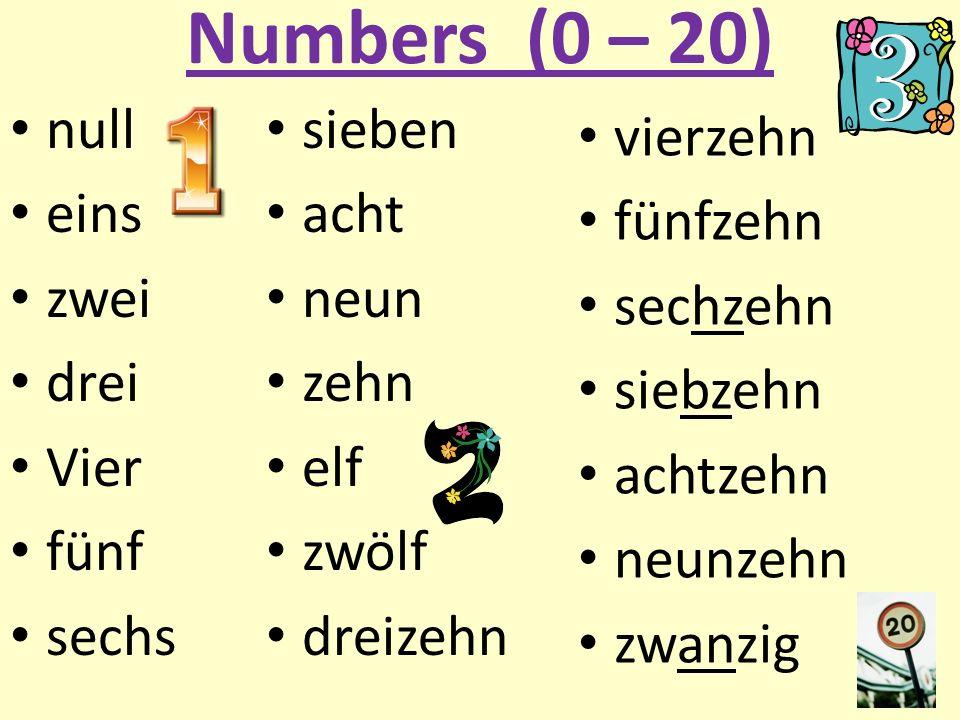 Numbers (0 – 20) null eins zwei drei Vier fünf sechs sieben acht neun