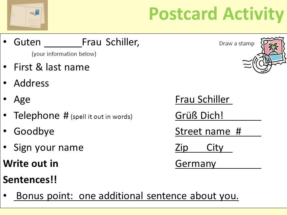 Postcard Activity Guten _______Frau Schiller, Draw a stamp