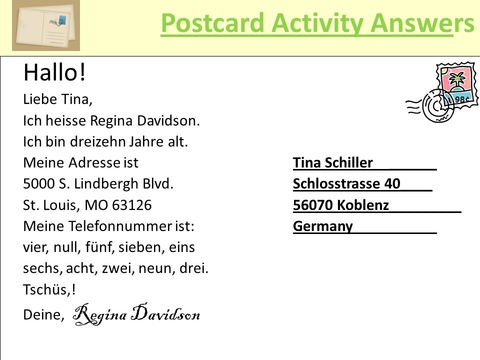 Postcard Activity Answers