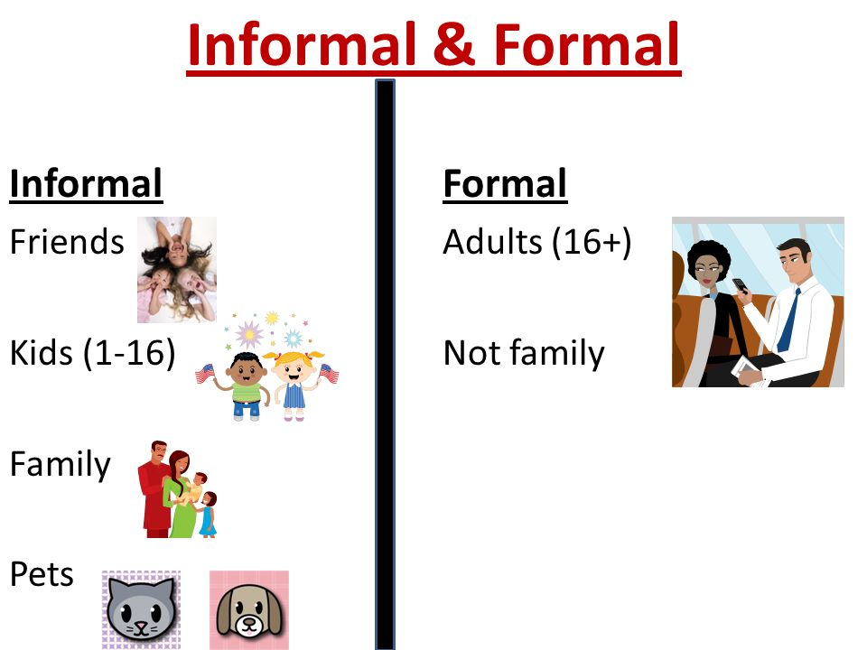 Informal & Formal Informal Formal Friends Adults (16+)