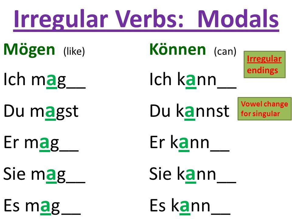 Irregular Verbs: Modals