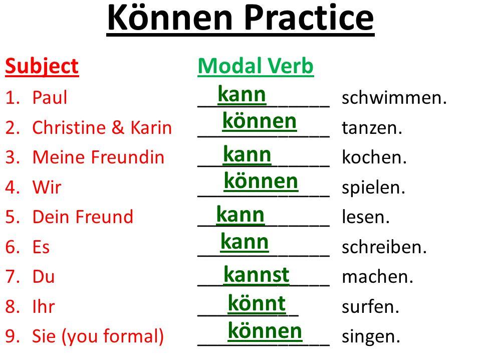 Können Practice Subject Modal Verb kann können kann können kann kann