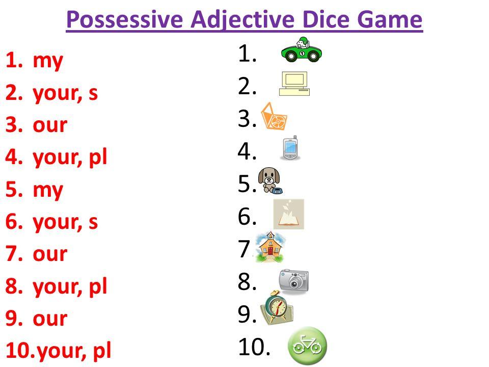 Possessive Adjective Dice Game