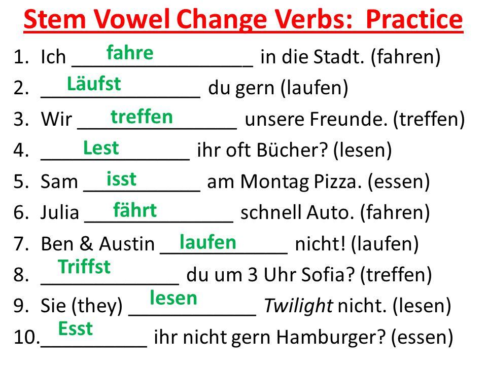 Stem Vowel Change Verbs: Practice