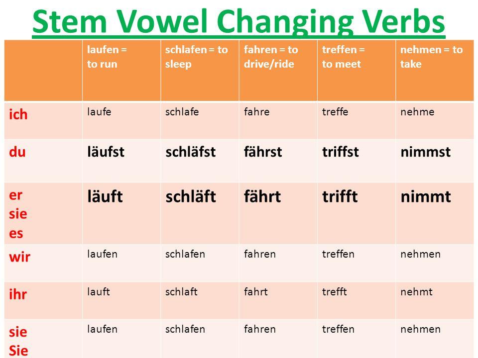 Stem Vowel Changing Verbs