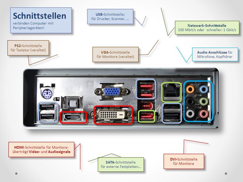 Schnittstellen verbinden Computer mit Peripheriegeräten!