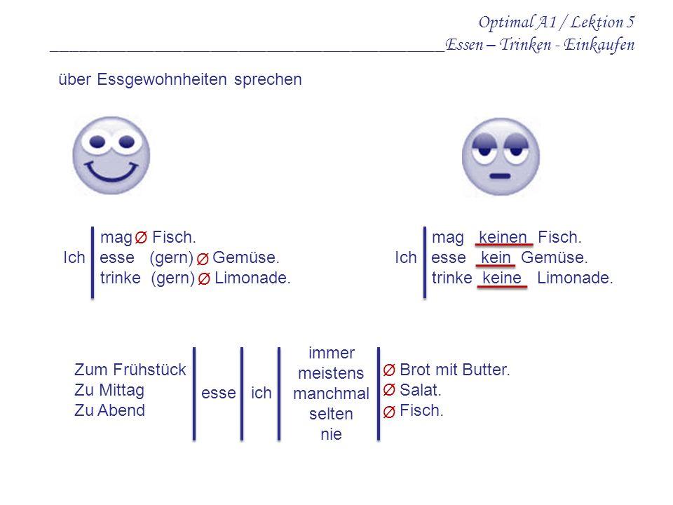 Optimal A1 / Lektion 5 __________________________________________Essen – Trinken - Einkaufen