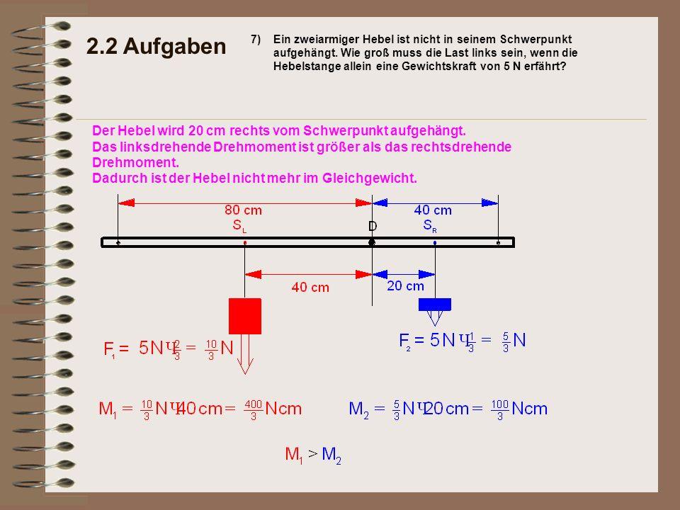 2.2 Aufgaben Der Hebel wird 20 cm rechts vom Schwerpunkt aufgehängt.