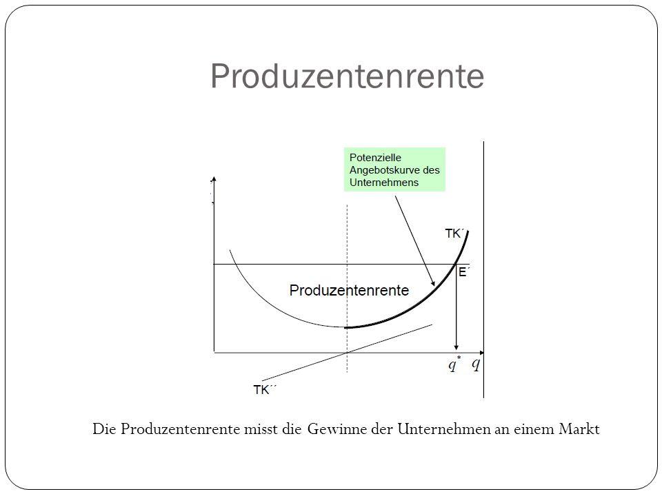 Produzentenrente Die Produzentenrente misst die Gewinne der Unternehmen an einem Markt