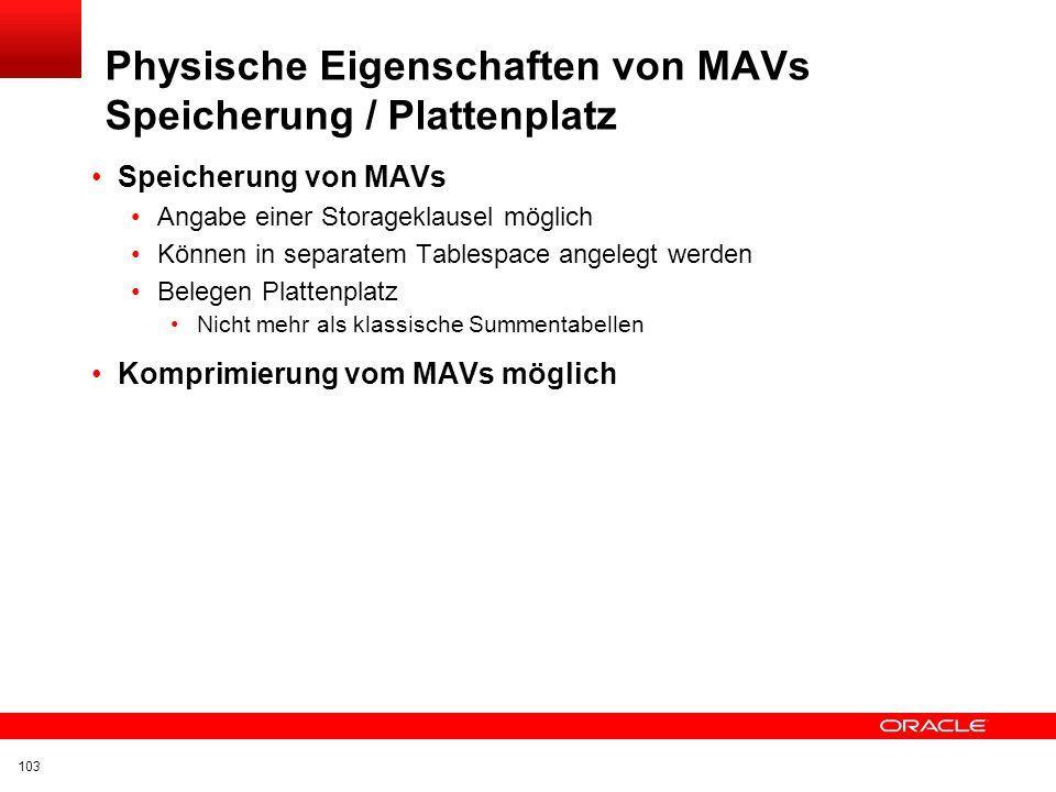Physische Eigenschaften von MAVs Speicherung / Plattenplatz