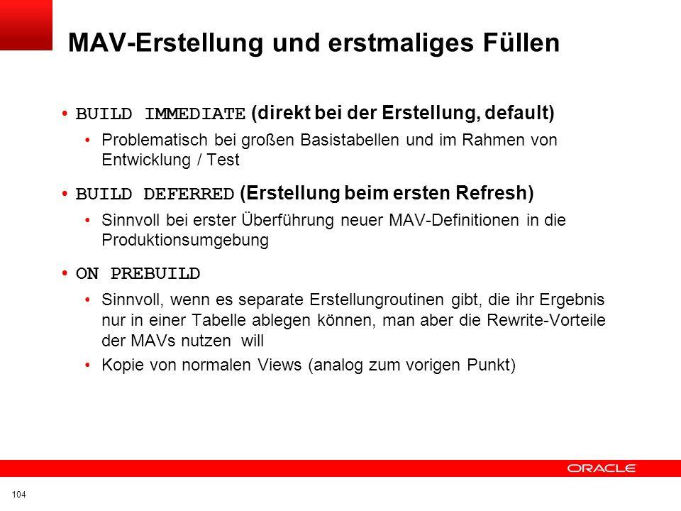 MAV-Erstellung und erstmaliges Füllen