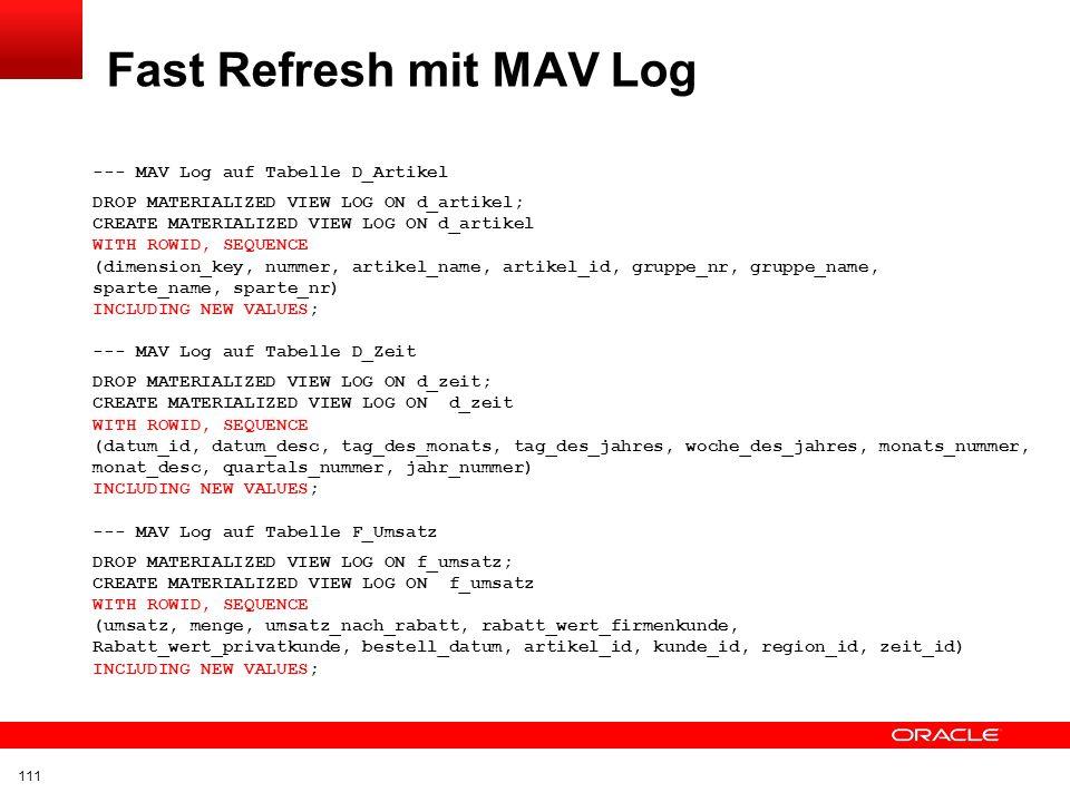Fast Refresh mit MAV Log