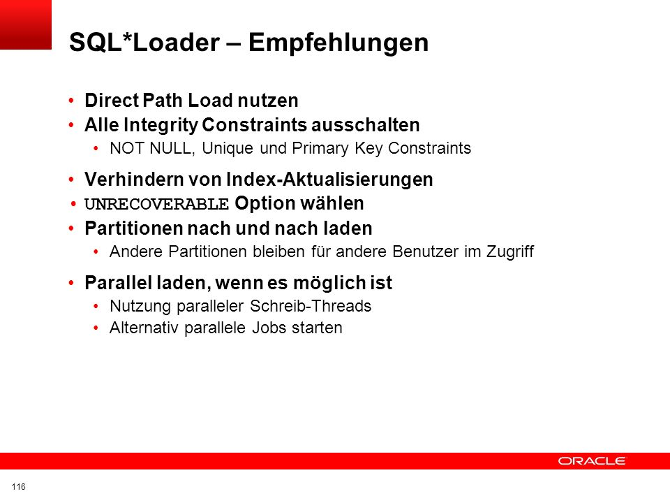 SQL*Loader – Empfehlungen