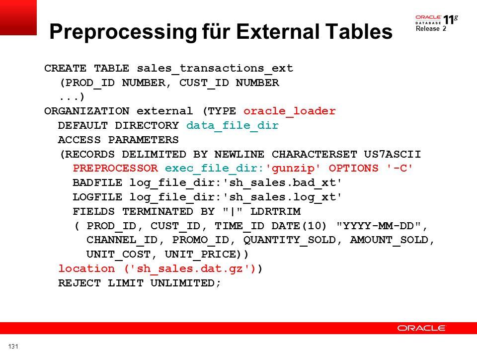 Preprocessing für External Tables