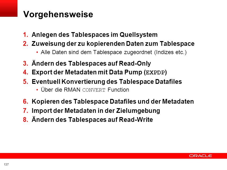 Vorgehensweise Anlegen des Tablespaces im Quellsystem