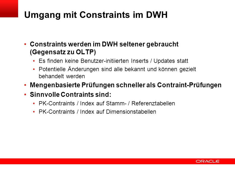 Umgang mit Constraints im DWH