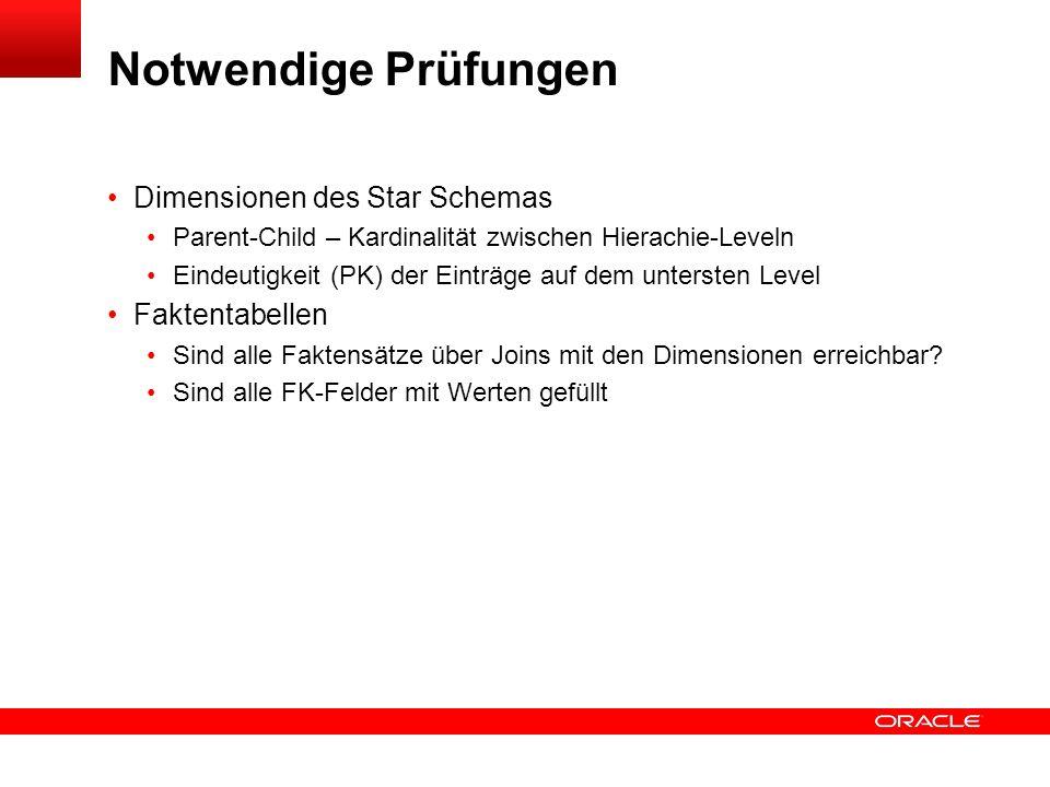 Notwendige Prüfungen Dimensionen des Star Schemas Faktentabellen
