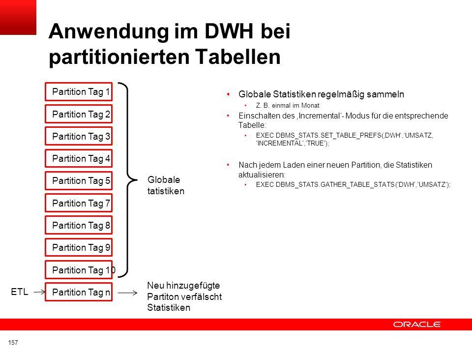 Anwendung im DWH bei partitionierten Tabellen