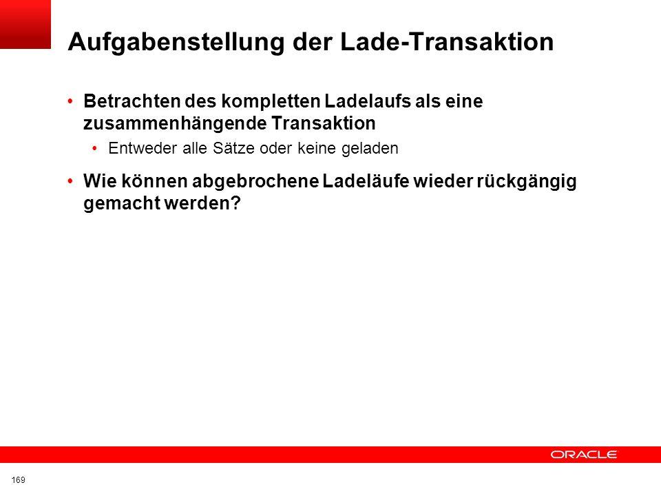 Aufgabenstellung der Lade-Transaktion