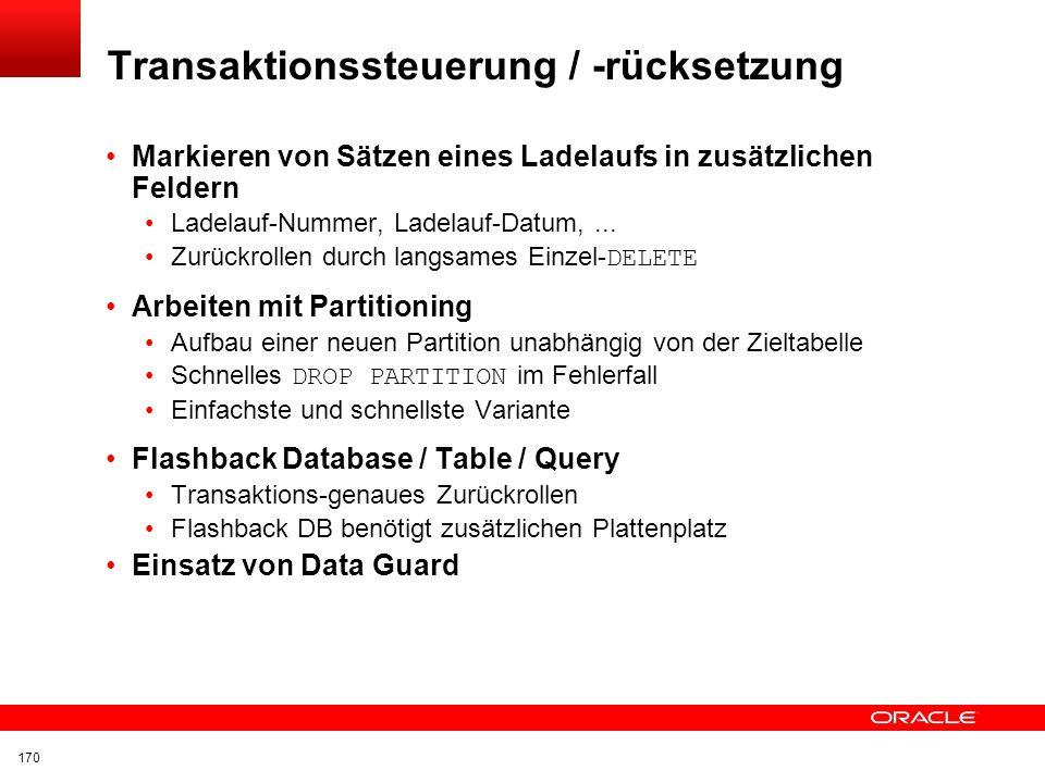 Transaktionssteuerung / -rücksetzung