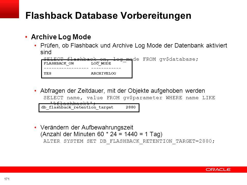 Flashback Database Vorbereitungen