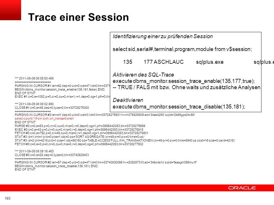 Trace einer Session Identifizierung einer zu prüfenden Session