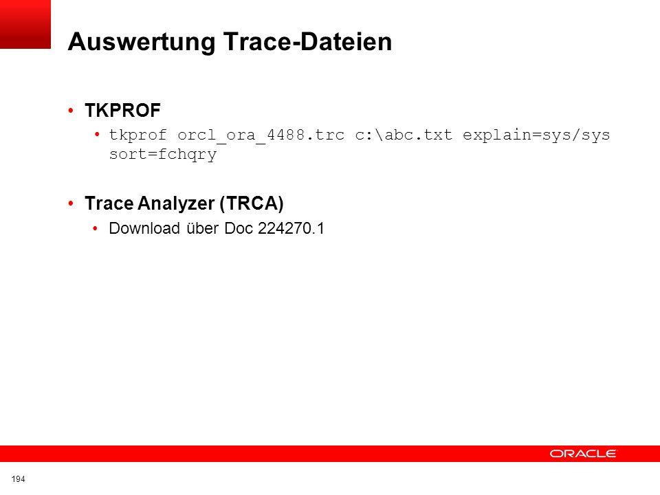 Auswertung Trace-Dateien