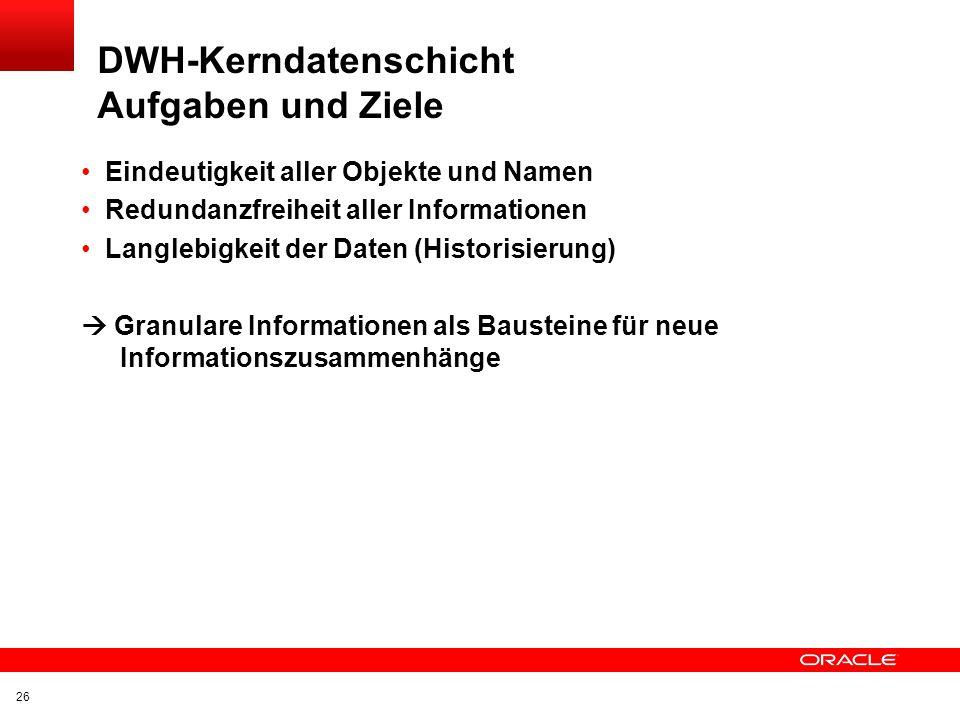 DWH-Kerndatenschicht Aufgaben und Ziele