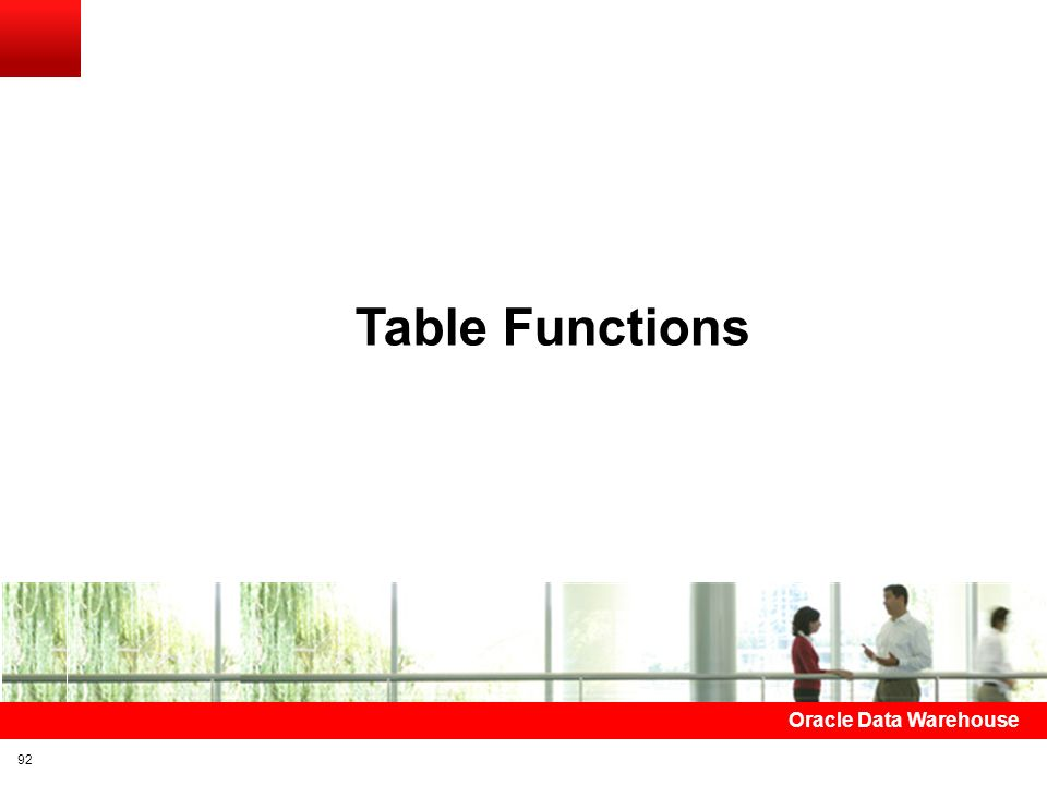 Table Functions Oracle Data Warehouse