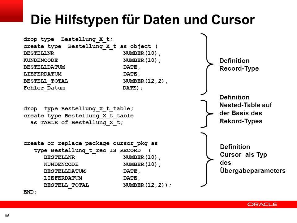 Die Hilfstypen für Daten und Cursor