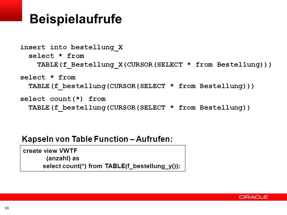 Beispielaufrufe Kapseln von Table Function – Aufrufen: