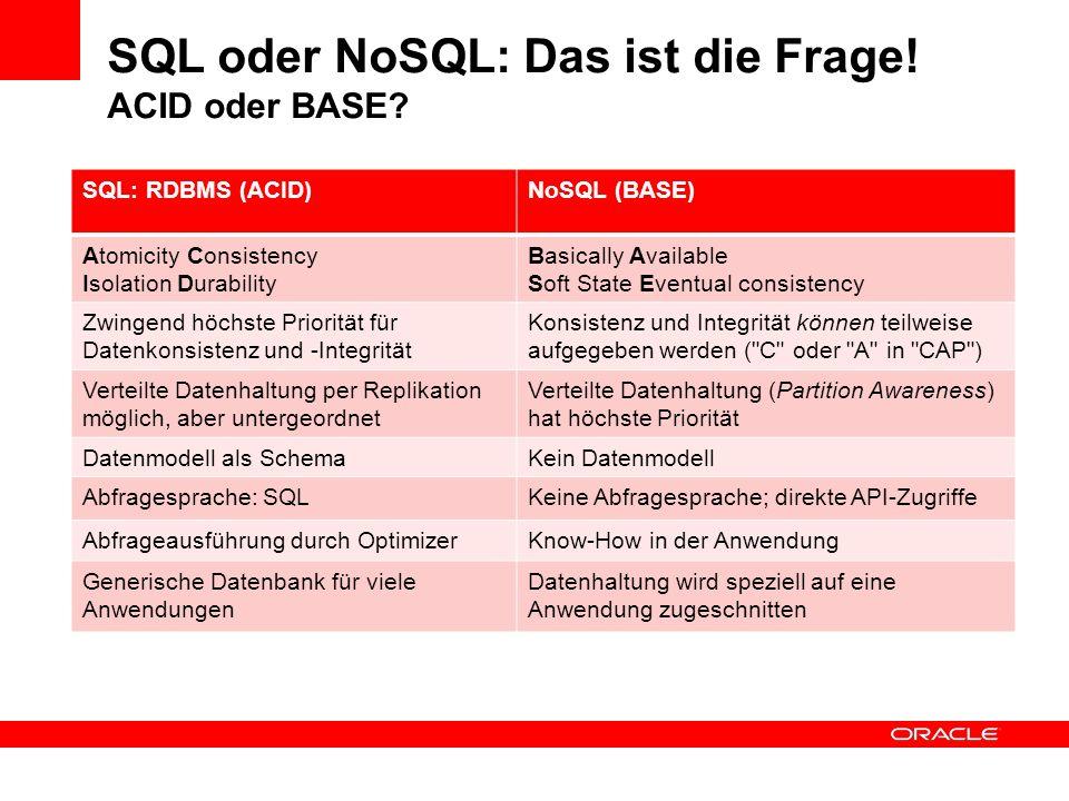 SQL oder NoSQL: Das ist die Frage! ACID oder BASE