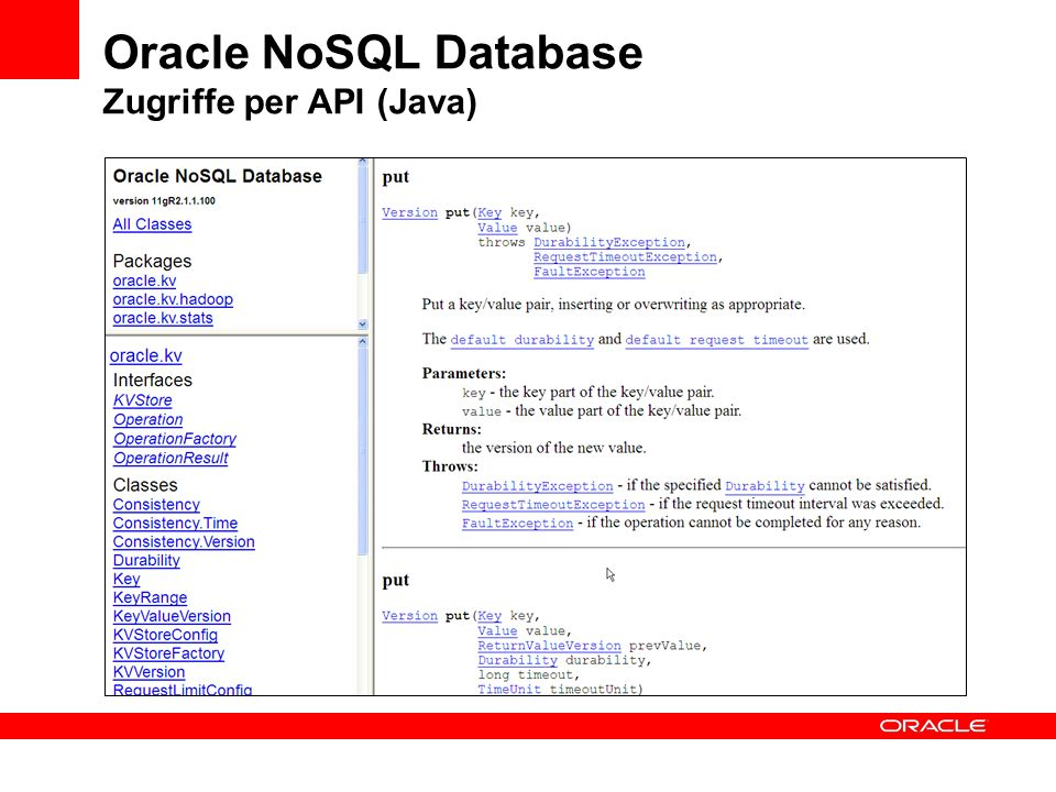 Oracle NoSQL Database Zugriffe per API (Java)