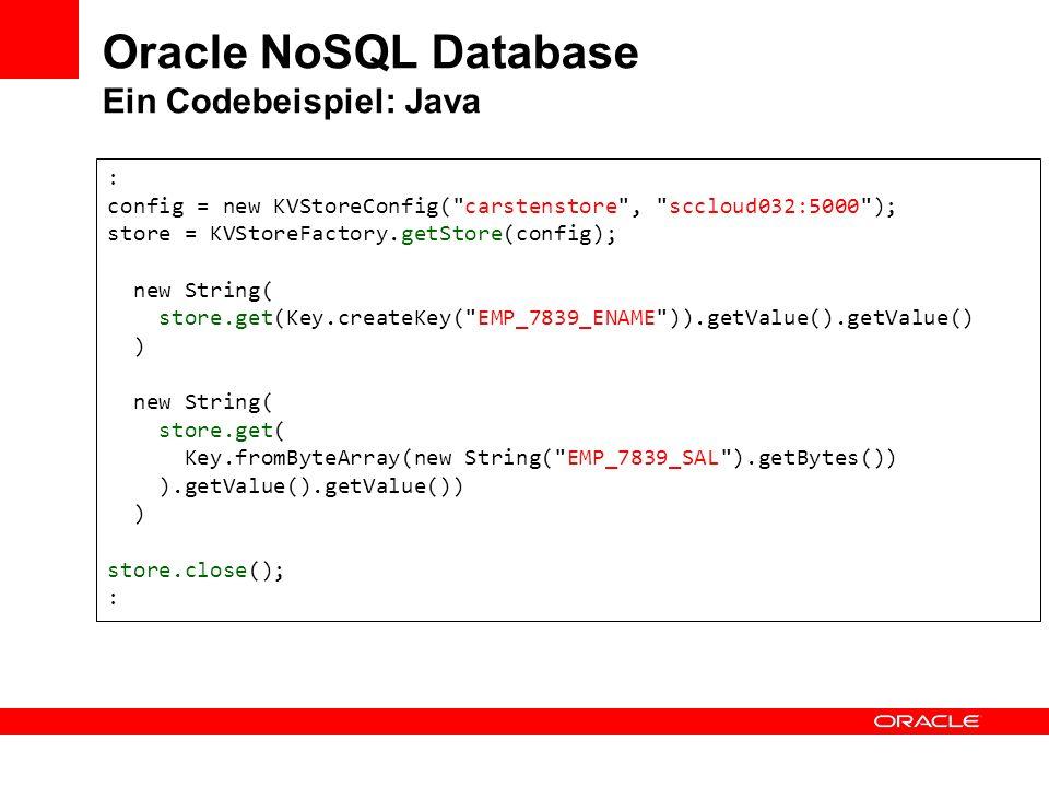 Oracle NoSQL Database Ein Codebeispiel: Java