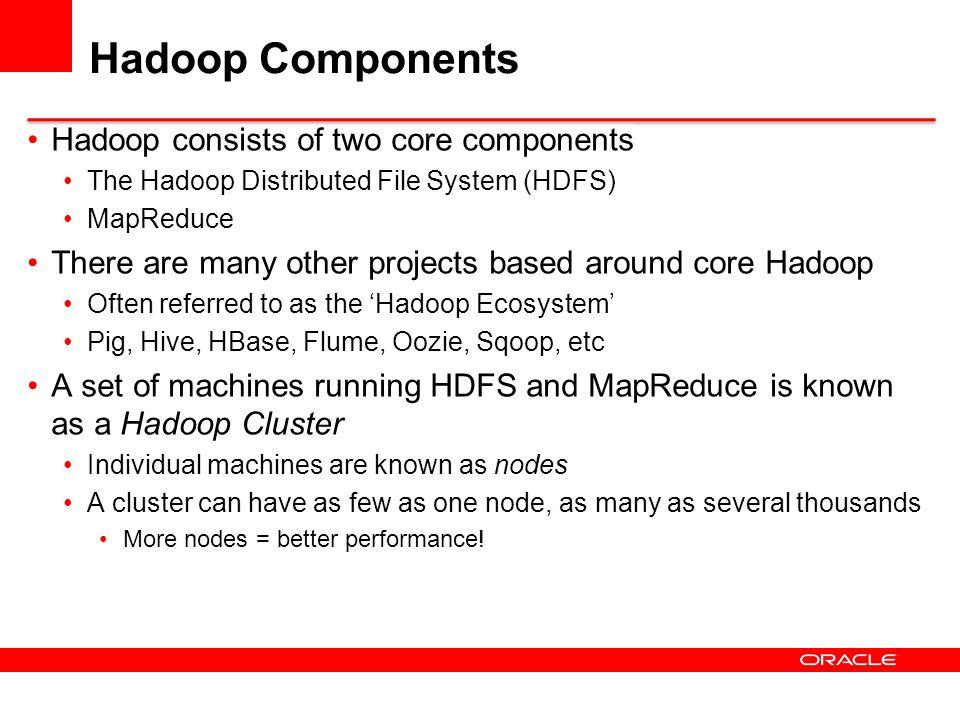 Hadoop Components Hadoop consists of two core components