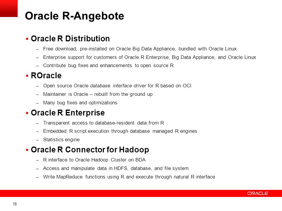 Oracle R-Angebote Oracle R Distribution ROracle Oracle R Enterprise