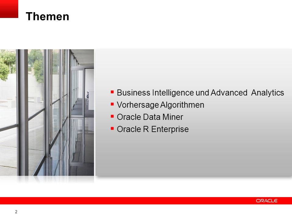 Themen Business Intelligence und Advanced Analytics