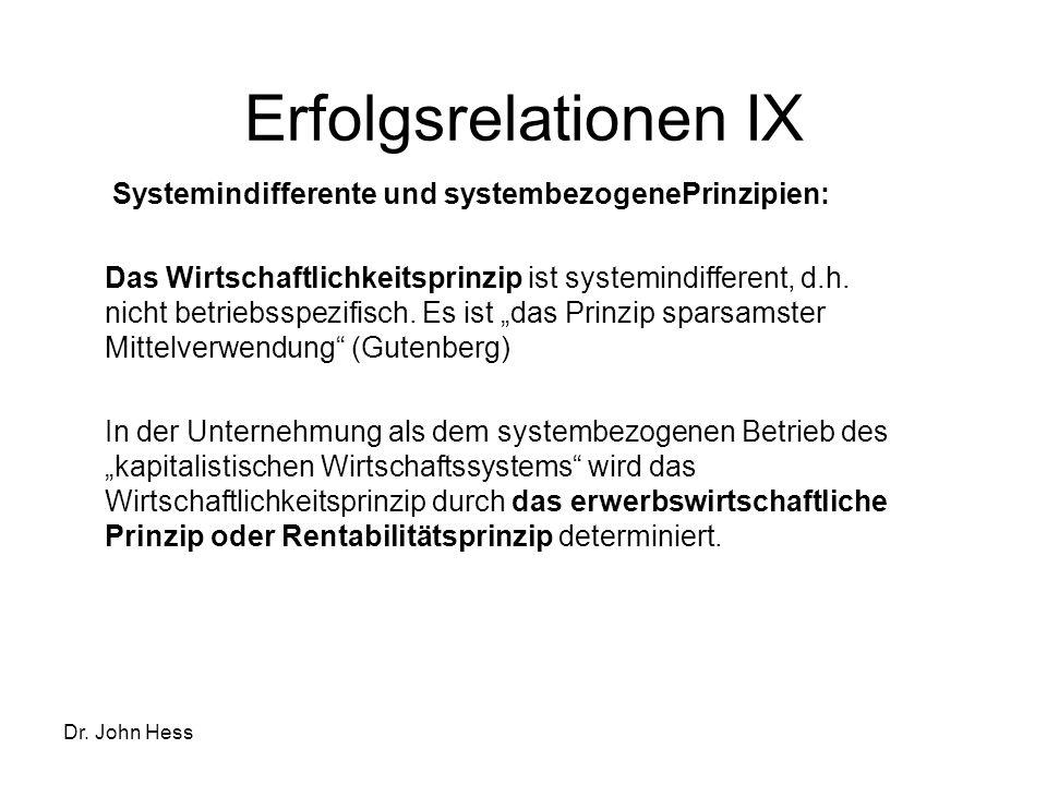 Erfolgsrelationen IX Systemindifferente und systembezogenePrinzipien: