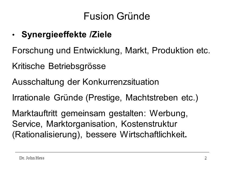 Fusion Gründe Forschung und Entwicklung, Markt, Produktion etc.