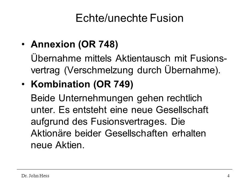 Echte/unechte Fusion Annexion (OR 748)