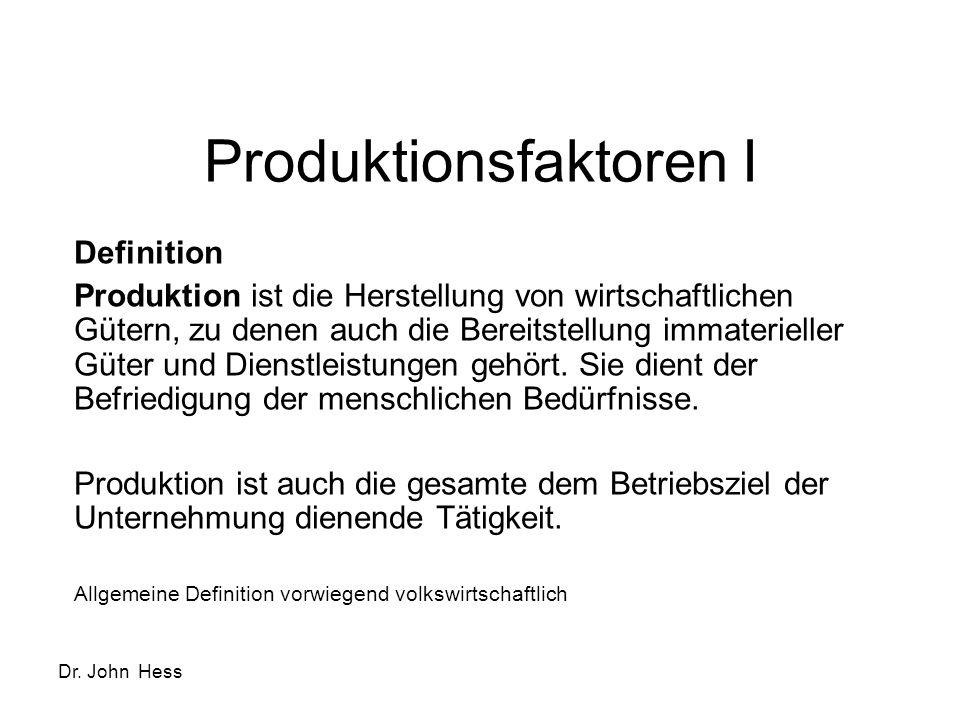 Produktionsfaktoren I