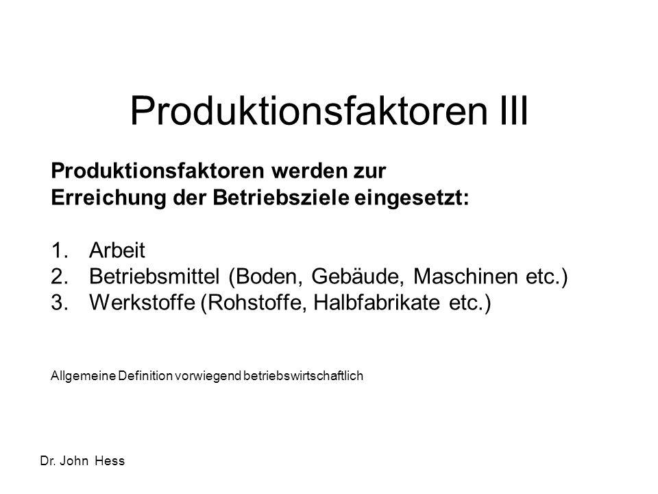 Produktionsfaktoren III