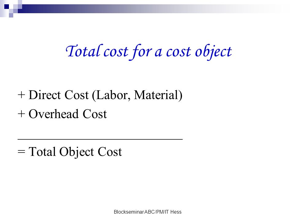 Total cost for a cost object