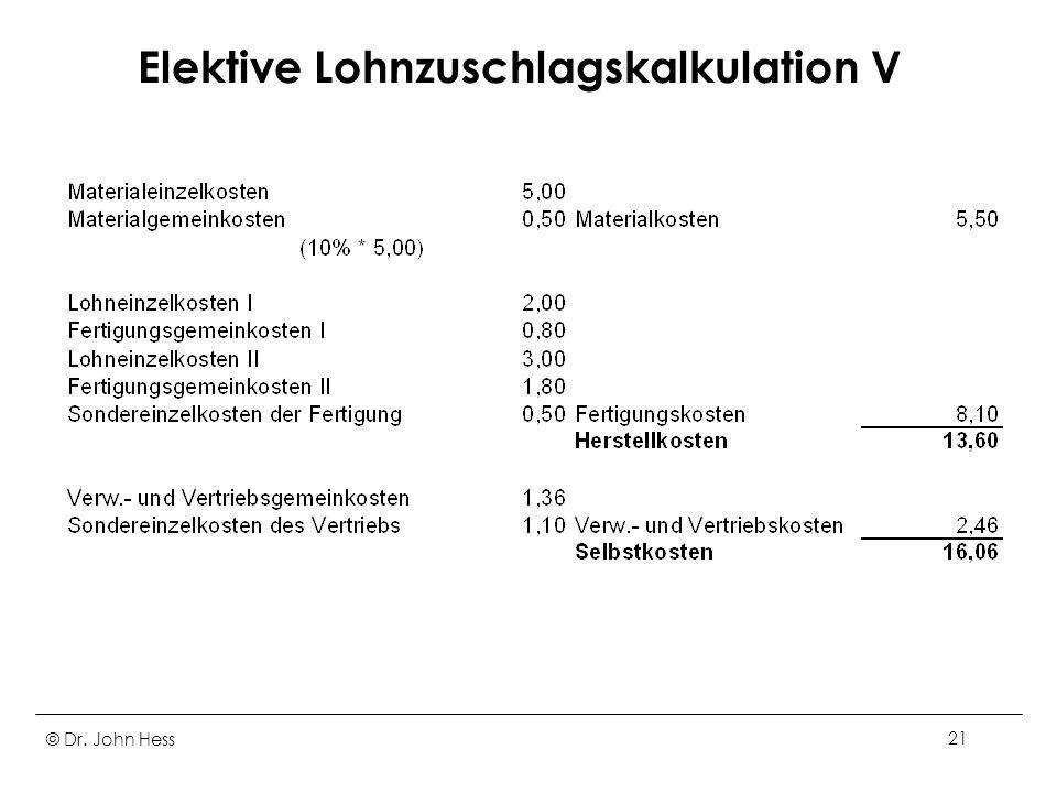 Elektive Lohnzuschlagskalkulation V