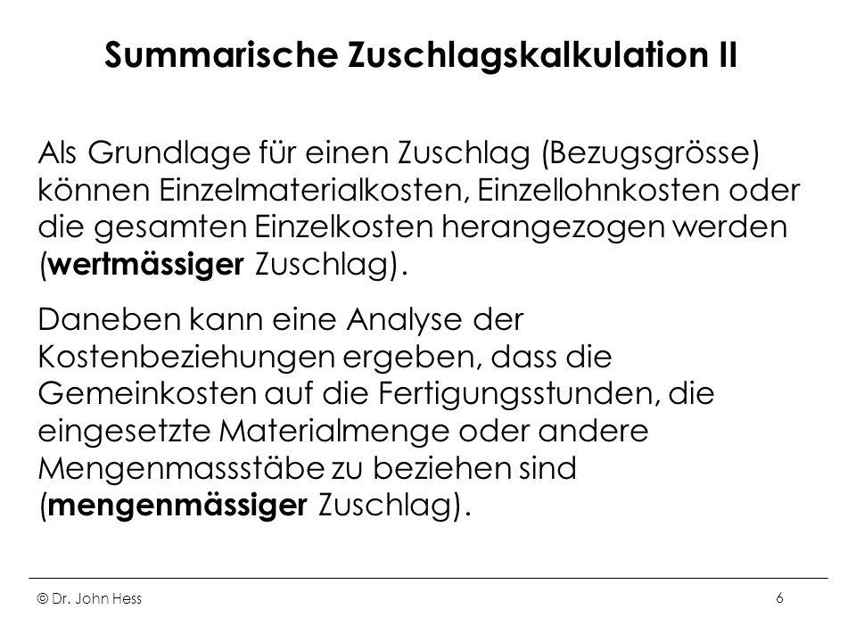 Summarische Zuschlagskalkulation II