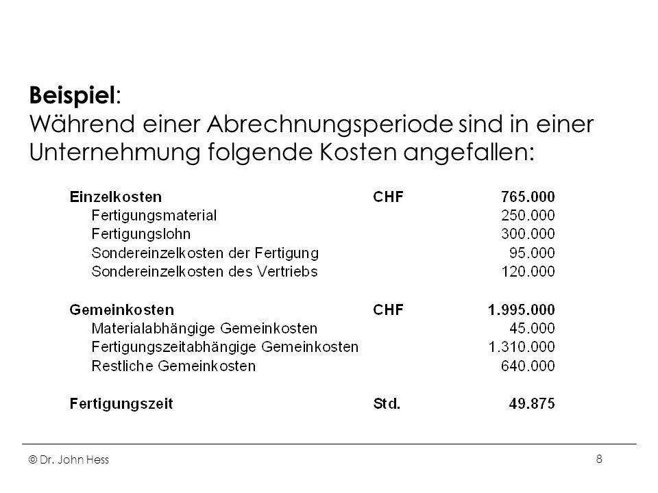 Beispiel: Während einer Abrechnungsperiode sind in einer Unternehmung folgende Kosten angefallen: © Dr.
