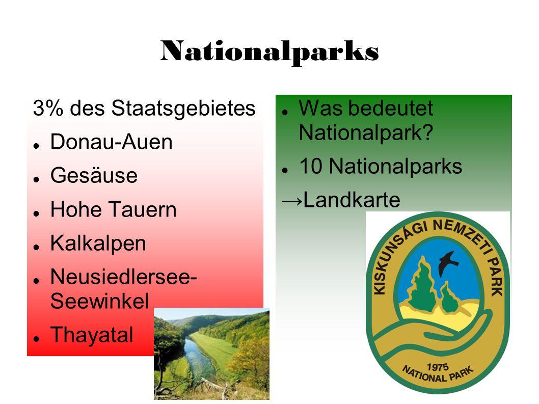 Nationalparks 3% des Staatsgebietes Donau-Auen Gesäuse Hohe Tauern