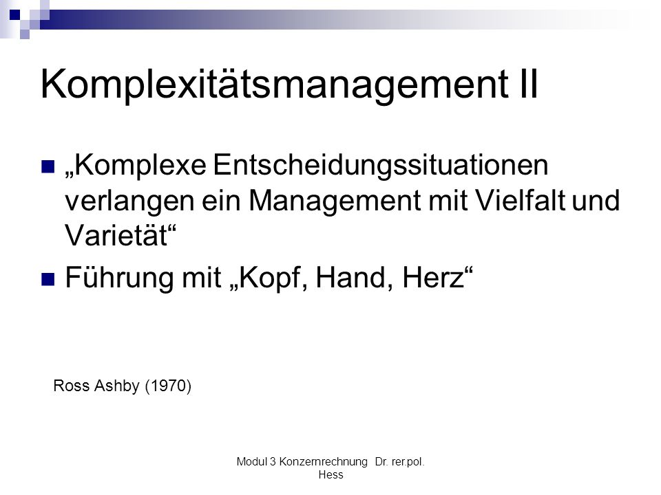 Komplexitätsmanagement II